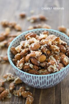 1 cup shredded sweetened coconut 2 cups raw whole almonds 2 tablespoons honey, agave, or maple syrup