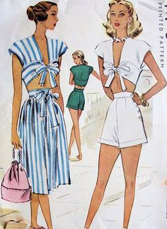 40s pin Up tutina modello ombelico Top, pantaloncini a vita alta e gonna McCall 6812 Vintage cartamodello busto 30 di SoVintageOnEtsy su Etsy https://www.etsy.com/it/listing/192697600/40s-pin-up-tutina-modello-ombelico-top