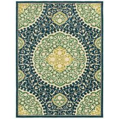 allen   roth�Thorndale 5-ft x 7-ft 9-in Rectangular Blue Floral Area Rug