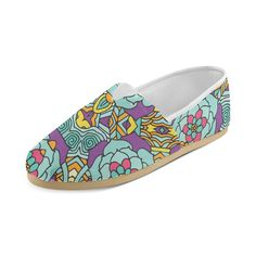 Mariager Bold Flowers Blue Purple Yellow Floral Casual Shoes Loafers For Women (004) *** Check out this great product.