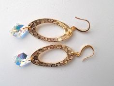 Champagne gold oblong with Swarovski cosmic pendant crystal earrings by RicePaperJewels on Etsy