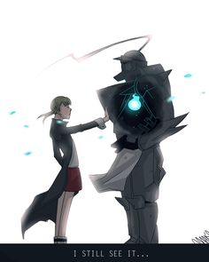 Maka from Soul Eater and Alphonse from Fullmetal Alchemist; wow this is really a nicely done crossover!