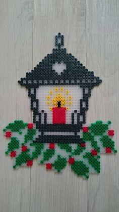 Christmas Lantern made of Hama Beads - Best DIY and Crafts 2019 Perler Bead Designs, Hama Beads Design, Diy Perler Beads, Perler Bead Art, Christmas Perler Beads, Beaded Christmas Ornaments, Christmas Crafts, Rustic Christmas, Vintage Christmas