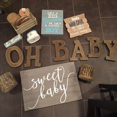 Cool props for rustic themed Soriano baby shower :)