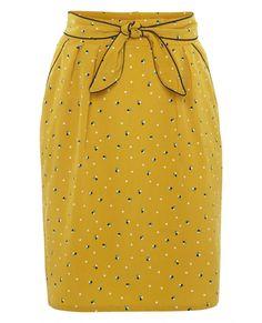 SKIRT006 - Lantern Light Skirt - Mustard Pyramid Polka