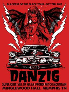 Danzig poster for the blackest of the black legacy tour - Memphis Tennessee oct - 3 screen silkscreen , hidden glow in the dark under layer skeleton on blood red paper- prints limited to 138 -. Glenn Danzig, Tour Posters, Band Posters, Music Posters, Russ Mayer, Misfits Band, Arte Punk, Rockabilly Art, Heavy Metal Art
