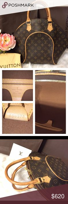 Authentic Louis Vuitton Ellipse MM 100% authentic. 💕bundle for discount will give 20% off two items💕 Rich W on ♏️ #jane2LVoe on fb. Bag is in mint condition. Inside is clean. Canvas has some scratches but unnoticeable. Handles are still light patina. Zipper works good on top. Msg for more info. 🚫no trades pls Louis Vuitton Bags Satchels