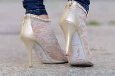white lace boots | Shoes: lace, heels, low boots, white - Wheretoget