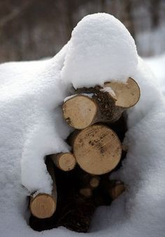 Winter pile of snow on the fire wood. Winter Szenen, Winter Cabin, Winter White, Winter Season, Winter Christmas, Winter Colors, Snow Cabin, Cabin Christmas, I Love Snow