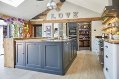 The Main Company designed this bespoke kitchen to blend seamlessly with the rest of this Yorkshire property using reclaimed oak wood and painted cabinets. Cosy Kitchen, Barn Kitchen, Kitchen Dining Living, Family Kitchen, Open Plan Kitchen, Rustic Kitchen, Kitchen Inspiration, Kitchen Ideas, Kitchen Decor