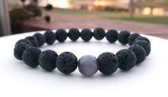 Men's Lava Rock and Cats Eye Bracelet