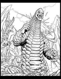 Red King Ultraman Coloring Pages Monster Coloring Pages, Coloring Pages For Kids, Detailed Coloring Pages, Surf Art, Gremlins, Sci Fi Art, Godzilla, Trippy, Line Art