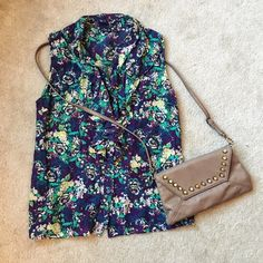 ABS Purple & Green Floral Sleeveless Ruffle Top This purple and green floral ruffle top by Allen B. by Allen Schwartz (ABS) is perfect for spring!   Lightweight, full of personality, and in gret condition, all this top needs is a cute pair of leggings and shoes and you're good to go!   ✨ 69% Cotton // 31% Silk ✨   NO TRADES!   ❗️But feel free to make an offer! ❗️ ABS Allen Schwartz Tops Blouses