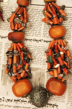 Coral, amber and silver necklace by Moroccan designer Faouzi