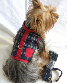New Dog Cat Vest Harness Leash Red Plaid Cotton x small small medium