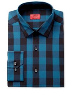 Stand out in style with the appealing buffalo plaid and refined fit of this stretch dress shirt from Alfani Slim Fit + Stretch . | Cotton/spandex | Machine washable | Imported | A slim fit is cut clos