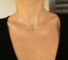 An elegant hand casted slightlyr irregular sterling silver brushed circle ring is hang on sterling silver chain. The circle ring is double thick. Circle is All other findings are sterling silver. Minimalist Jewelry, Gold Necklace, Charmed, Etsy Shop, Karma, Sterling Silver, Diamond, Trending Outfits, Unique Jewelry