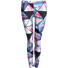 Pilot Jasmine Geometric Print Leggings ($40) ❤ liked on Polyvore featuring pants, leggings, multi color leggings, geometric leggings, geometric print leggings, stretch pants and stretchy leggings