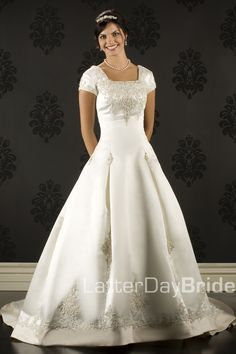 Modest Wedding Dress, Santino   LatterDayBride & Prom embroidered ball-gown with train that I actually absolutely love! If I get a ball-gown this is it.