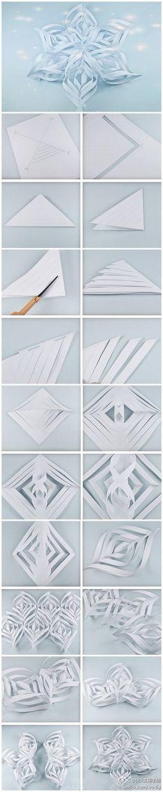 colgante copo de nieve con papel