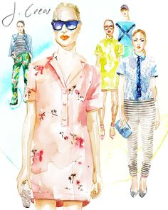 New York Fashion Week in Watercolor, artist's renderings by Samantha Hahn - The Cut