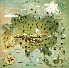 "Asia illustrated map: Extract from the children's atlas"" Amuse-toi autour du monde"