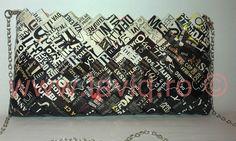 Geanta Eco Scris mare alb negru