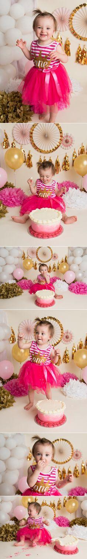 Arziona's Pink & Gold Cake Smash | Holly Schaeffer Photography | Newborn & Cake Smash Photographer