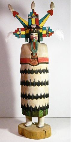 "23"" Hopi ""Butterfly Maiden"" Kachina, Hand Carved From Cottonwood Root, Signed Atson, Second Mesa"