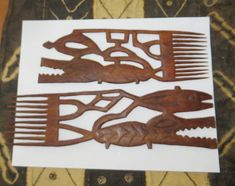 FOLK ART Two Neat Vintage AFRICAN Hand Carved Wooden Hair Combs or Decorative Decor Fish & Crocodiles Excellent Shape African Folklore