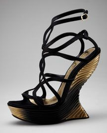 I love the sculptural heels on these Alexander McQueens!