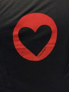 Heart in red circle on black bamboo Tshirt