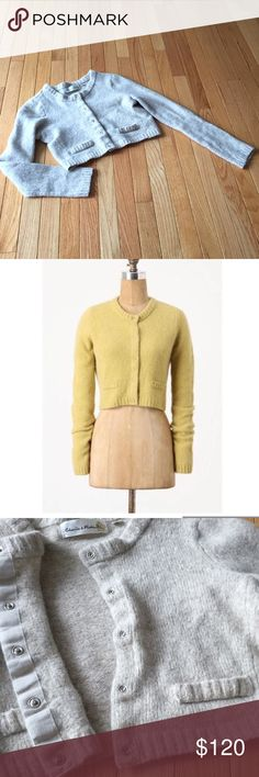 """Anthropologie cropped snap cardigan Sz M Charlie & Robin Linea cropped cardi in oatmeal beige color. Short and downy soft, this graceful sweater topper pairs with strapless dresses perfectly.  Snap front Wool, nylon, angora Length approx. 15"""" bust across pit to pit 16"""" Anthropologie Sweaters Cardigans"""