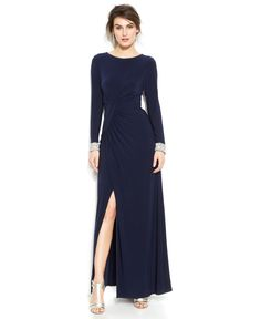 Vince Camuto Long-Sleeve Embellished Faux-Wrap Gown - Modern Maxi Dress - Women - Macy's