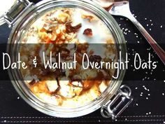 Date & Walnut Overnight Oats (Video) - The Raw Vision Overnight Oats, Raw Food Recipes, Amp, Desserts, Tailgate Desserts, Deserts, Raw Recipes, Dessert, Food Deserts