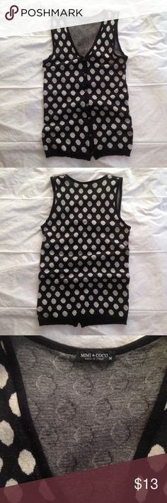 Mimi & Coco sweater vest. Size M •Mimi & Coco sweater vest •Black with off-white dots •Size M •Only damage is a small hole on back near armhole (shown in photo) •Slim fit with buttons up front •100% cotton •Made in Italy MIMI & COCO Sweaters