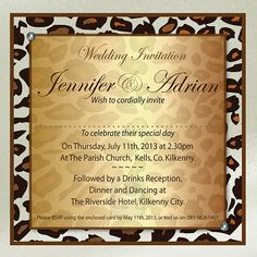 Leopard Wedding Invitation - Brown on champagne card with diamanté detail