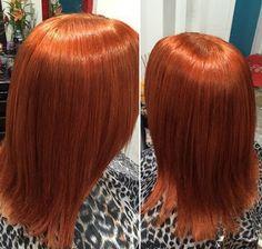 medium straight copper hairstyle