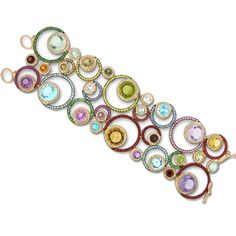 Zorab, Fantaisie collection, Kaleidoscope Circle Bracelet, amethyst, blue sapphire, citrine quartz, yellow sapphire and white diamonds.