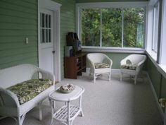 sun porch | Sun Porch Decorating Ideas With Green Walls
