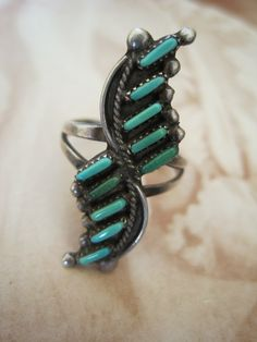 Vintage ring | Designer ? (Zuni)  Needle Work Sterling Silver and Turquoise.  ca. 1940s