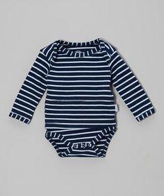 Look at this #zulilyfind! Navy Denim Stripe Bodysuit - Infant #zulilyfinds