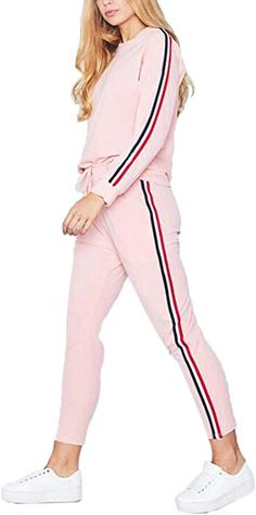 96e040fb5402  SOMTHRON Women s Casual Autumn Spring Sports Sweatsuits 3XXL Side Striped  Cotton Tracksuit Jumper Sets Plus