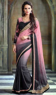 Define your ethnic beauty with this black and pink color shade chiffon jacquard sari. The ethnic lace, resham and sequins work with a saree adds a sign of beauty statement with a look. Upon request we can make round front/back neck and short 6 inches sleeves regular saree blouse also. #latestfashionsaree #jacquardsilksari #fashionablesarees