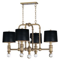 Heavy scale metal tubing finished in Weathered Brass and accented with large scale solid Clear glass balls creates a lighting design reminiscent of the Early El Lantern Chandelier, Rectangle Chandelier, Wagon Wheel Chandelier, Chandelier Shades, Chandelier Lighting, House Lighting, Contemporary Chandelier, Transitional Chandeliers, Modern Contemporary