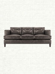 """Flanders 84"""" Leather Sofa in Palance Steel"""