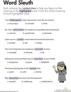 Third Grade Comprehension Worksheets: Context Clues: Word Sleuth Worksheet