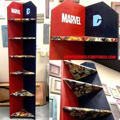 BOOM! POW! GORGEOUS! This sleek-as-Catwoman corner shelving unit is the perfect place for your Marvel and DC collectables to Duke it out for shelf space! For sale at Rescued Relics Studio $99. Photos courtesy of Peter Parker #rescuedrelicsstudio #spiderman #theflash #thehulk #thor #xmen #marvel #marvelvsdc #comics #comicbooks #awesome #art #forsale #custompainted #captainamerica #catwoman #thejoker #batman #greenlantern #dc