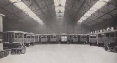 The city of Lyon had several electrobus garages like this.To the left are two boxes of batteries that have just been removed from two electrobuses. Figure 41 from 'Celebration du centenaire de Gaston Plante, 1834-1934' (1934). Plante was a French physicist who invented the lead-acid battery in 1859. IET Archives NAEST 45/521 page 43.