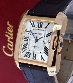 ** Cartier LG Tank Anglaise 18k Rose Gold Automatic Watch Box/Papers W5310005 **